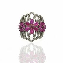 Pave Diamond Flowers Ring 925 Silver Ruby Gemstone Designer Wedding Gift... - $366.37