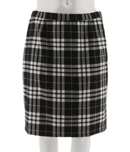 Joan Rivers Tartan Plaid Slim Skirt Black White 10 NEW A298266 - $32.65