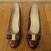 Salvatore Ferragamo VERA BOW Shoes 7.5 AA Leather 7.5 A2 Italy - $48.00
