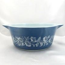Pyrex 475 Colonial Mist Serving Bowl 2.5qt Blue Daisy Casserole Dish Mad... - $24.95
