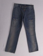 Women Jeans 6 Blue Solid Button Fly Straight Leg Cotton London Jeans 1755 - $16.83