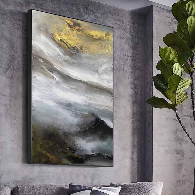 Contemporary Abstract Cloud Mountain Oil Painting Art