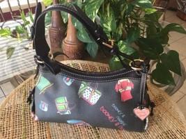 Dooney & Bourke Grey Canvas Black Trim Multicolor Zipper Beach Theme Handbag - $49.95