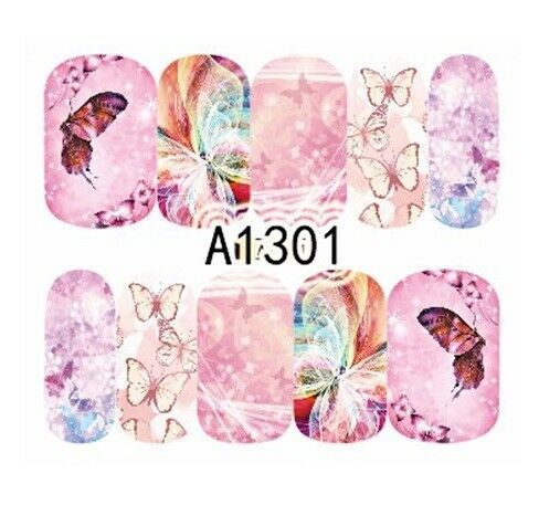 Primary image for Water Transfer Watermark Art Nails Decal Sticker Manicure Butterfly Flower A1301