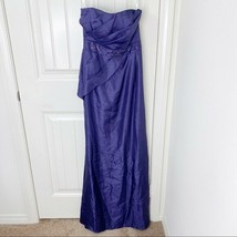 David's Bridal Women's Purple Lapis Bead Strapless Maxi Gown Formal Dres... - $49.49