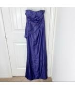 David's Bridal Women's Purple Lapis Bead Strapless Maxi Gown Formal Dress Size 2 - $49.49