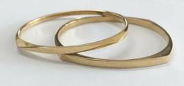 Set Of 2 Vintage Matching Crown Trifari Gold Tone Square/Round Bangle Bracelets - $29.69