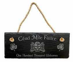 Gibson Irish Coat of Arms Slate Plaque Blessing - Céad Míle Fáilte - $27.44