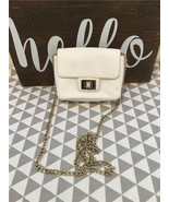 juicy couture women's white leather mini crossbody bag gold hardware THR... - $32.73
