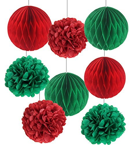 SUNBEAUTY Pack of 8 Christmas Decoration Red Green Honeycomb Balls Tissue Paper