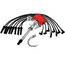 A-Team Performance HEI Distributor Red Cap with Black Spark Plug Wires Set and P