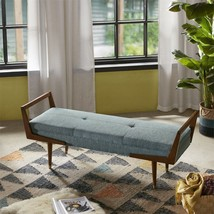 Luxury Blue & Pecan Brown Boomerang Padded Bench w/Wood Frame - £266.78 GBP