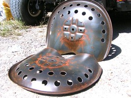 TWO Steel tractor Farm machinery metal stool seat s New Old Style bz - $119.98