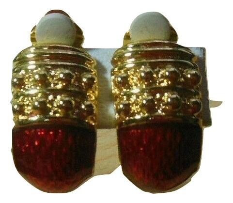 Gold-tone & Red Enamel Textured Half Hoop Clip-on Earrings - $24.99