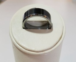 Men's Two Tone size 9.5 Comfort Fit TUNGSTEN Ceramic Wedding Ring 10mm - £173.44 GBP
