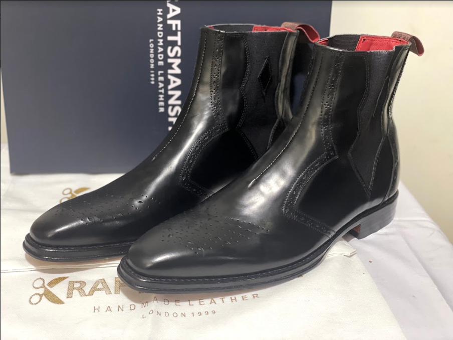 Handmade Men's Black Leather Brogues Style Chelsea Boots