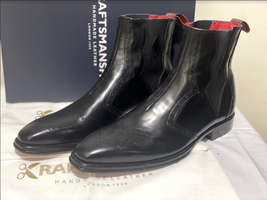 Handmade Men's Black Leather Brogues Style Chelsea Boots image 1
