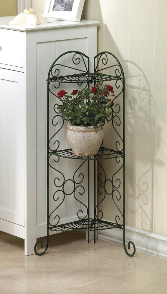 Primary image for Corner Curio, Plant Stand with Three Shelves Antiqued Faux Verdigris