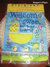 Evergreen WELCOME SWEET BABY Garden Flag Carriage Hearts Blue Yellow 12 x 17 New - $9.95