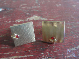 SWANK gold tone square cuff links with ruby red stone - $14.25