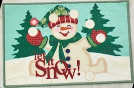 """Printed Kitchen Rug (Nonskid Back) (20""""x 30"""") Snowman Between Trees, Let It Snow - $16.82"""