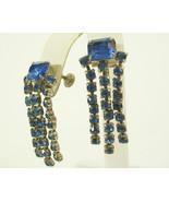 Blue Sparkle Rhinestone DANGLE Cobalt Screw Back Earring Vintage PROM PA... - $14.84