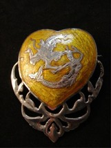Vintage Siam Sterling Yellow Niello Enamel Mermaid In Heart Brooch - $123.74