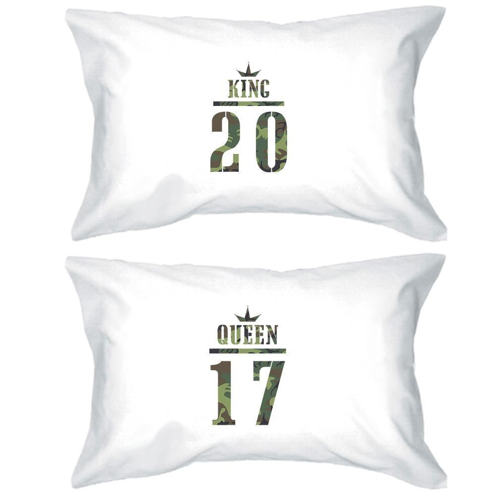 Primary image for King And Queen Military Pattern Custom Matching Couple White Pillowcases