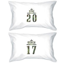 King And Queen Military Pattern Custom Matching Couple White Pillowcases - $38.99