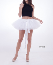 WOMEN MINI TUTU Skirt Drawstring Waist Solid Color Mini Petticoats Ballet Skirts image 11