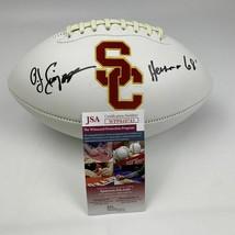 Autographed/Signed OJ O.J. SIMPSON Heisman 68 USC Trojans Logo Football ... - $149.99