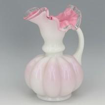 Vintage Fenton Art Glass Peach Crest 1940s Melon Rib Jug Vase image 2