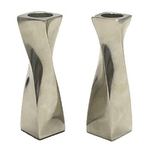 Judaica Candlestick Candle Holders Shabbat Holiday Silver Aluminum Spiral Twist