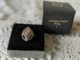 Avon Designer Signed Antique Style Pink Rhinestone Ring Size 8  - $9.69