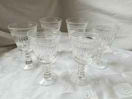 Imperial Glass-Ohio Water Goblets Pattern 12-2 Criss-Cross Vertical Cut Set of 6 - $42.70