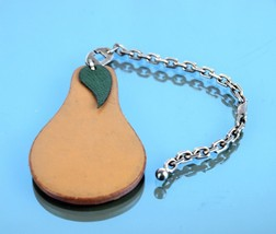 Authentic Hermes Pears Theme Brown Leather Silver Tone Chain Bag Charm Key Charm - $167.31