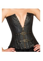 Black Faux Leather Gothic Burlesque Bustier Halloween Costume party Over... - $65.16