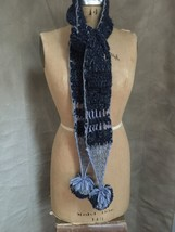 Free People NEW Blue Silver Yarn CROCHET POMPOM Winter Neck Scarf GIFT r... - $554,18 MXN