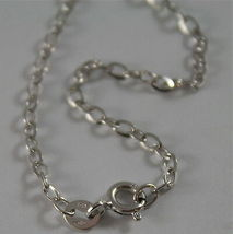 18K WHITE GOLD CHAIN MINI 2 MM ROLO OVAL MIRROR LINK 17.70 INCHES MADE IN ITALY image 3