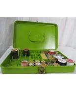 Vtg Wilson Wil-Hold Sewing Box Avocado Green Slim Thread Case w/ Wooden ... - $29.69