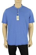 New Mens Report Collection Henley Blue 100% Cotton T Shirt Tee Xl - $14.99