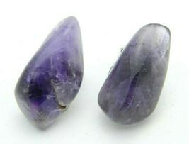 Purple Raw Ametrine Quartz Polished Stone Clip Earrings Vintage - $24.74