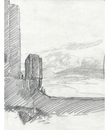 Marcus Adams - Early 20th Century Graphite Drawing, Dramatic Landscape - $32.48