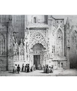 GERMANY Nuremberg S. Sebaldus Cathedral Married Gate - SUPERB 1843 Antiq... - $39.60