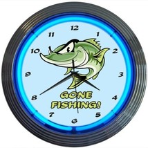 "Gone Fishing Art Light Neon Clock 15""x15"" - $59.00"