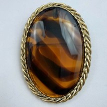 Large Amber Tone Glass Cabochon Brooch Pin Pendant Signed Lisa Faux Tort... - $24.70