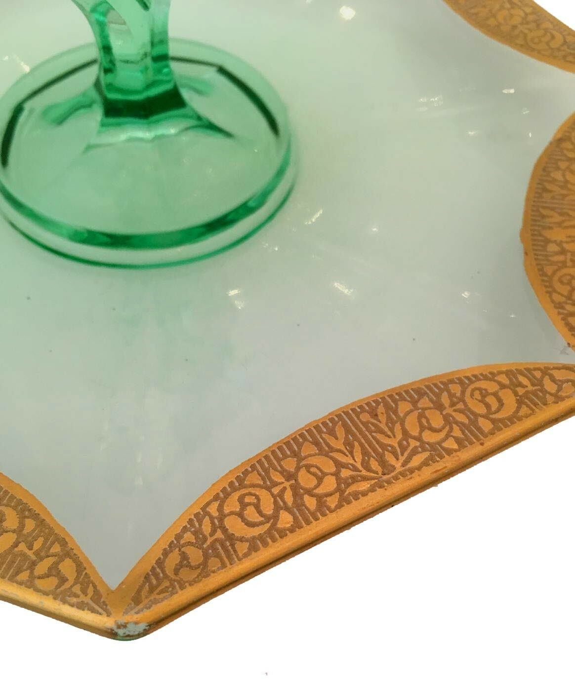 Vaseline Green Center Handle Snack Tray With Gold Floral Trim