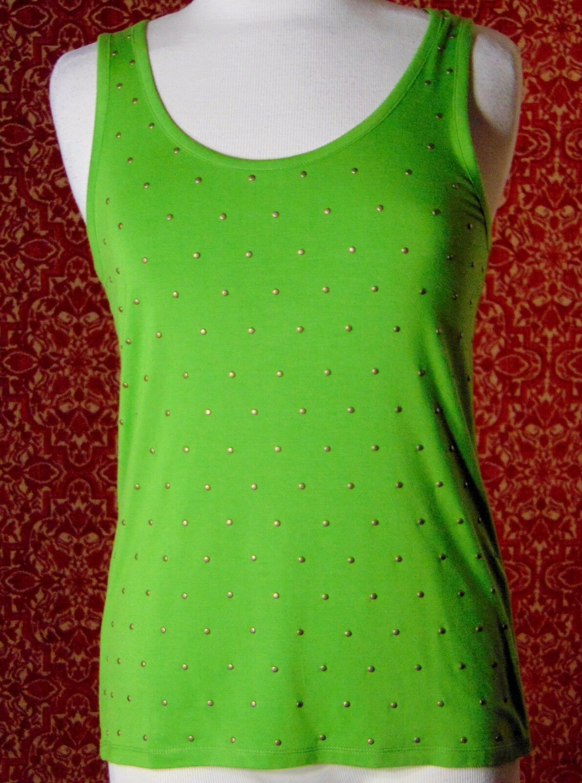 ETOILE green 2 piece stretch rayon tank blouse & sweater jacket M (T47-02I8G) image 10