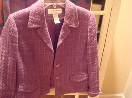 Sag Harbor Purple Tweed Jacket Velvet Cuff Trim Cool Buttons Sz 8P - $8.90