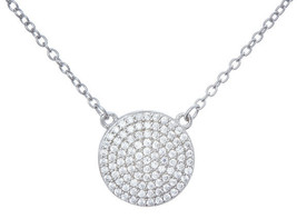 18K White Gold Vermeil Pave Disk 5A Cz Necklace-Pendant 925 - $39.59